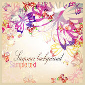Colorful vintage background with butterfly — Stock Vector
