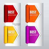 "Colorful arrows and bookmarks ""bestseller"" — Stock Vector"