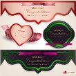 Set of  holiday banners and labels with ribbons. Vector backgrou - Stok Vektör