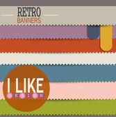 Ensemble de bannières colorées de rétro — Vecteur