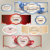 Set of holiday banners and labels with ribbons. Vector backgroun — Stock Vector
