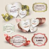 Uppsättning av överlägsen kvalitet och tillfredsställelse garanti märken, etikett — Stockvektor