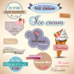 套复古冰淇淋店徽章和标签 — 图库矢量图片