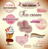 Ensemble d'étiquettes et de badges boutique vintage crème glacée — Vecteur