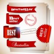 Stock Vector: Bestseller. Red banners and labels. Vector set