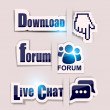 "Stock Vector: Paper website elements: ""Download"", ""Forum"", ""Live Chat"""