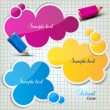 Colorful bubbles for speech on chequered sheet — Stock Vector #11809931