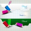 Torn paper banners with space for text. School time - Imagens vectoriais em stock