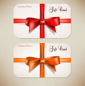 Collection of gift cards with ribbons. Vector background — Stockvector