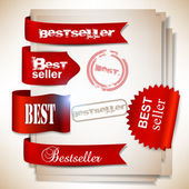 Best-seller. bannières rouges et des étiquettes. set vector — Vecteur