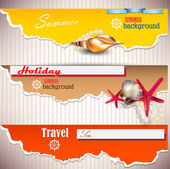 Set of Holiday banners with shells and place for text. Torn pape — Stock Vector