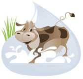 A large drop of milk and cow — Stock Vector