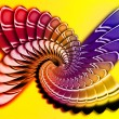 Simulation  of a metal spiral on the yellow background — Stock Photo