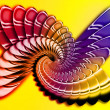 Stock Photo: Simulation of metal spiral on yellow background