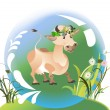 Cute cow wearing a crown of flowers — Stock Vector