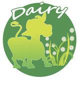 Силуэт корова на зеленом фоне — Cтоковый вектор