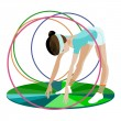 Stock Vector: The young gymnast and hoops