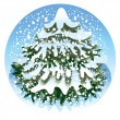 Stock Vector: Spruce in the snow