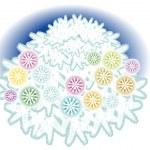 Fir under snow by decorative balls — Stock Vector
