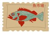 Imagen de un pez en el estilo oriental — Vector de stock