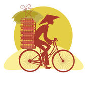 Silhouette Vietnamese cycling — Stock Vector