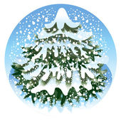 Spruce in the snow — Stock Vector