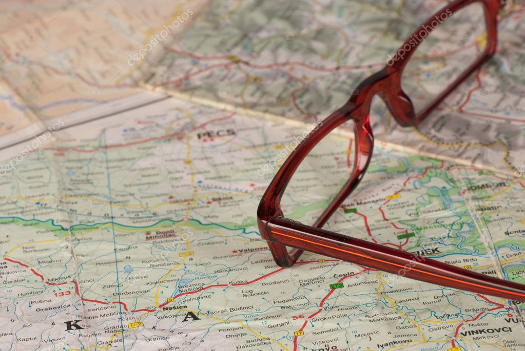Glasses on map, a travel concept — Stock Photo #10970119
