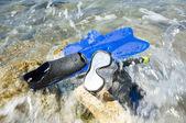 Snorkeling equipment ashore — Stock Photo