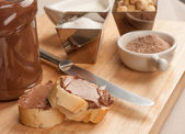 Choco spread and ingredients — Stock Photo