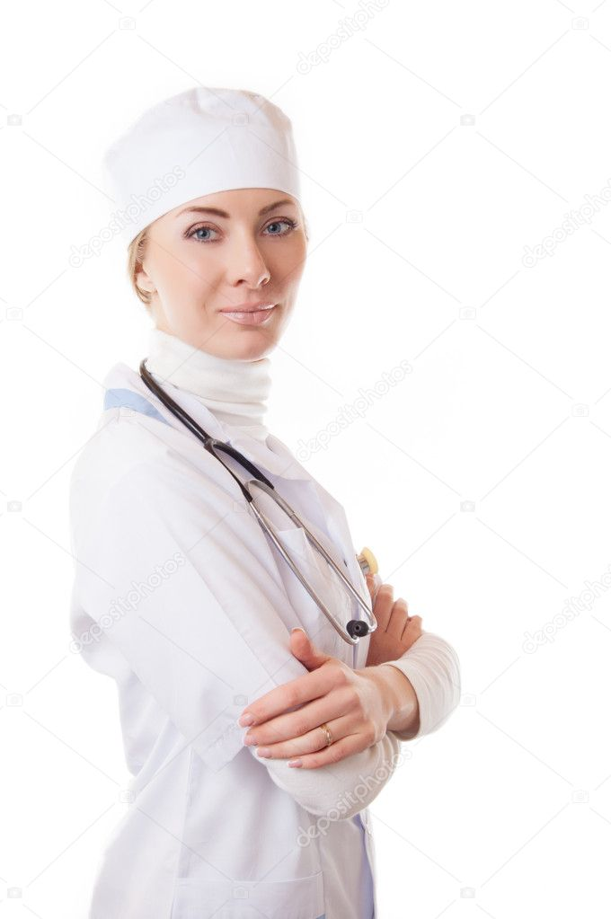 Serious medical doctor woman with stethoscope isolated on white — Stock Photo #10753082