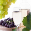 White wine bottle, glass and cask with grapes — Stock Photo