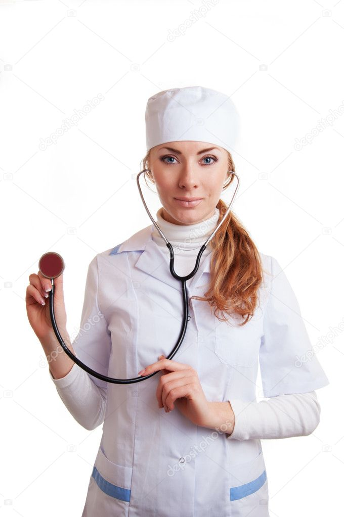 Pretty medical doctor woman with stethoscope isolated on white — Stock Photo #11294005