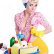 Coquettish pinup woman with cleaning set - Stockfoto