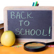 Back to school word on board, books and globe - Foto Stock