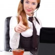 Help-line woman assistant with thumb up — Stock Photo #12409560