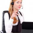 Help line assistant pointing at you — Stock Photo