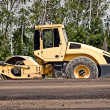 Heavy Vibration roller at asphalt pavement works — Stock Photo
