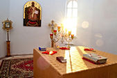 The altar is lit by the early morning sunlight Village Dubki, Saratov region — Stock Photo