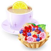 Tea and fruit basket — Stock Vector