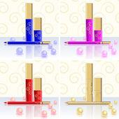 řasenky, rtěnky, tužky, perla — Stock vektor