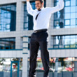 Happy young successful businessman — Foto Stock