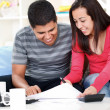 Stock Photo: Couple calculating in the living room