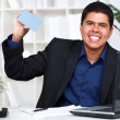 Man showing a business card — Stock Photo