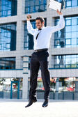 Happy young successful businessman — Stock Photo