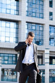 Attractive Young Businessman On Cellphone — Stock Photo