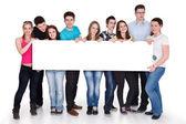Grupp lycklig anläggning banner, isolerade — Stockfoto