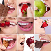 Collage of woman's mouth — Stock Photo