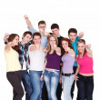 Young friends pointing their fingers — Stock Photo