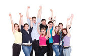 Happy excited smiling friends holding hands up — Stock Photo