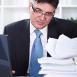 Businessman transferring data to the computer — Stock Photo